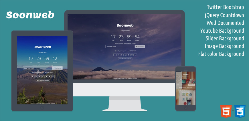 Soonweb - free coming soon template
