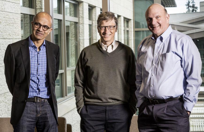 Satya Nadella, Bill Gates y Steve Ballmer