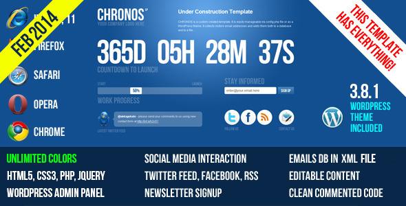 Chronos Under Construction Template + WP Theme