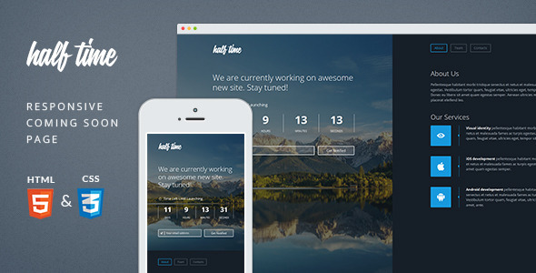 HalfTime - Responsive Coming Soon Template