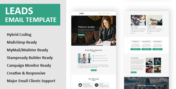 Leads - Multipurpose Responsive Email Template with Online StampReady Builder & Mailchimp Editor