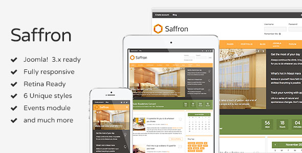 Saffron - Responsive Joomla Template